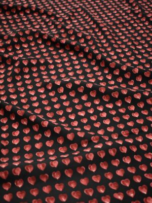 Креп черный с бордовыми сердечками (8341) - Фото 12