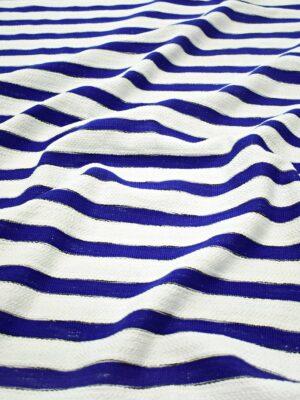 Твид летний белый в синюю полоску (8347) - Фото 15