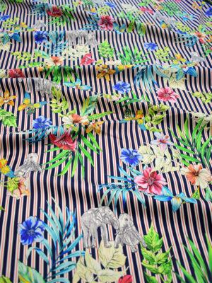 Штапель с цветами и слонами на полосатом фоне (8383) - Фото 12