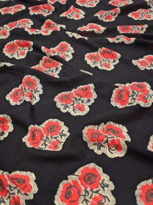 Шелк креп черный с красными цветами (8393) - Фото 17