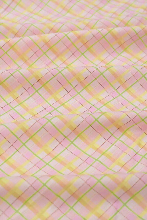 Хлопок в светло-розовую с желтым клетку