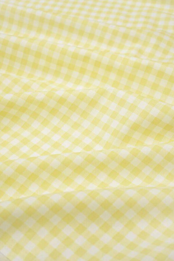 Хлопок белый в мелкую желтую клетку