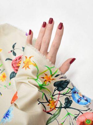 Сатин стрейч бежевый с цветами и бабочками (8413) - Фото 16