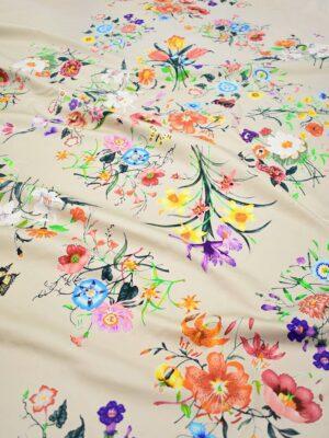 Сатин стрейч бежевый с цветами и бабочками (8413) - Фото 15