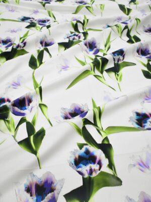Хлопок белый с синими тюльпанами (8427) - Фото 12