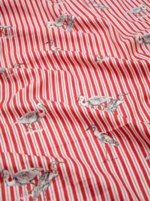 Штапель в красную полоску с цаплями (8432) - Фото 19