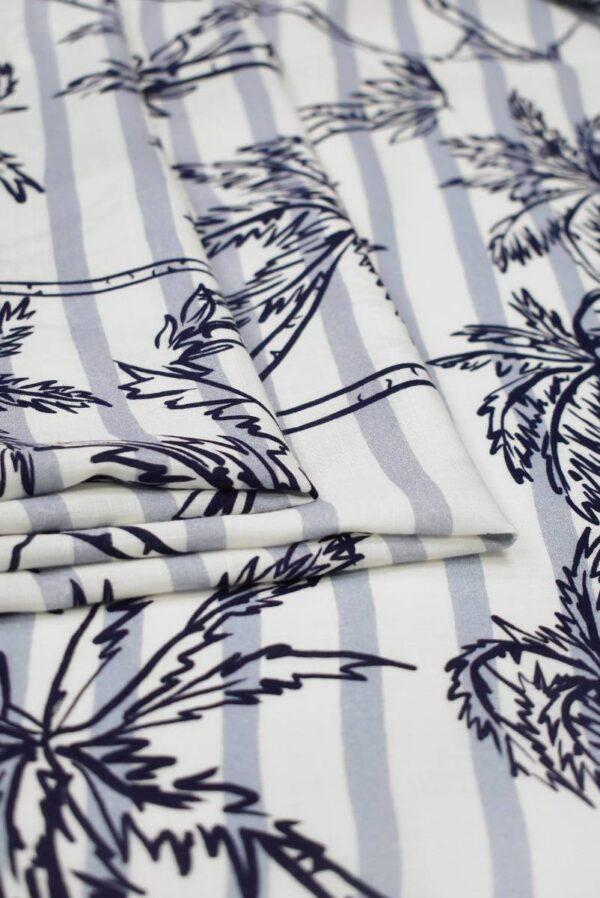 Штапель в полоску с синими пальмами (8451) - Фото 9