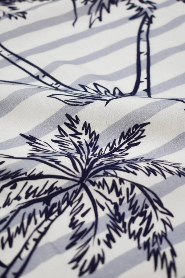 Штапель в полоску с синими пальмами (8451) - Фото 11
