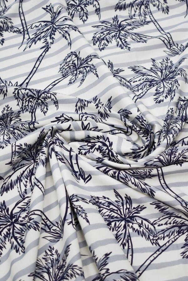 Штапель в полоску с синими пальмами (8451) - Фото 8