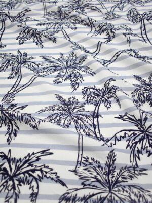 Штапель в полоску с синими пальмами (8451) - Фото 14