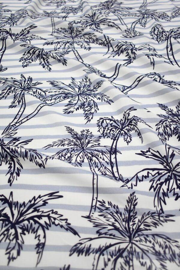Штапель в полоску с синими пальмами (8451) - Фото 6