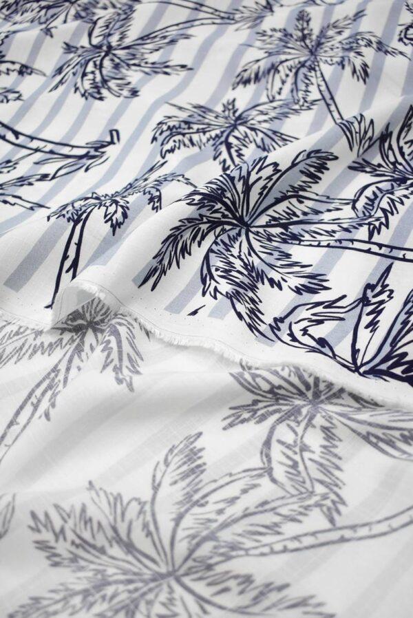 Штапель в полоску с синими пальмами (8451) - Фото 10