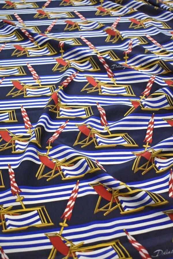 Шелк в морском стиле полоска шезлонги