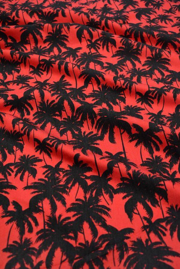 Джинс стрейч красный с пальмами