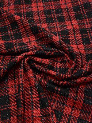 Твид шанель черный в красную клетку с люрексом (8922) - Фото 13