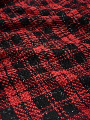 Твид шанель черный в красную клетку с люрексом (8922) - Фото 12