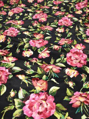 бархат хлопковый черный с пурпурными розами (9008) - Фото 10