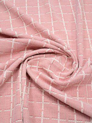 Трикотаж розовый в клетку с люрексом (9042) - Фото 16