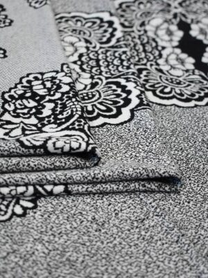 Трикотаж купон серый с флористическим узором (9044) - Фото 18