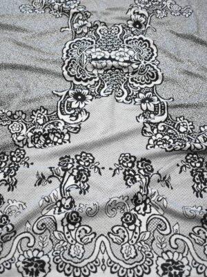 Трикотаж купон серый с флористическим узором (9044) - Фото 17