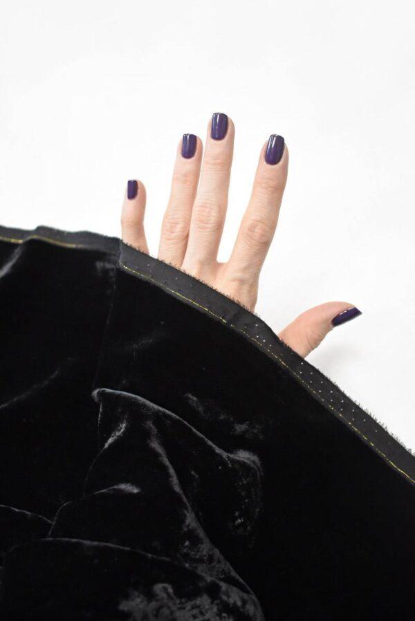 Бархат шелковый мраморный черный (9051) - Фото 10