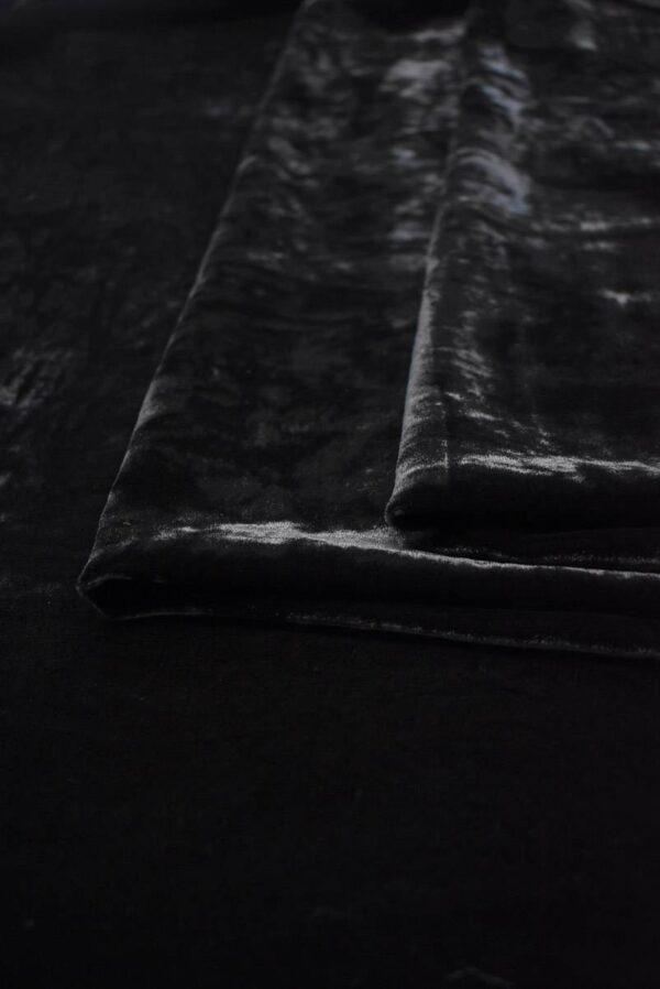 Бархат шелковый мраморный черный (9051) - Фото 8
