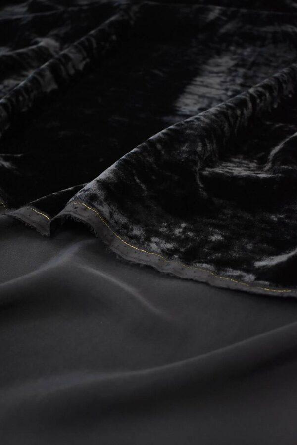 Бархат шелковый мраморный черный (9051) - Фото 9