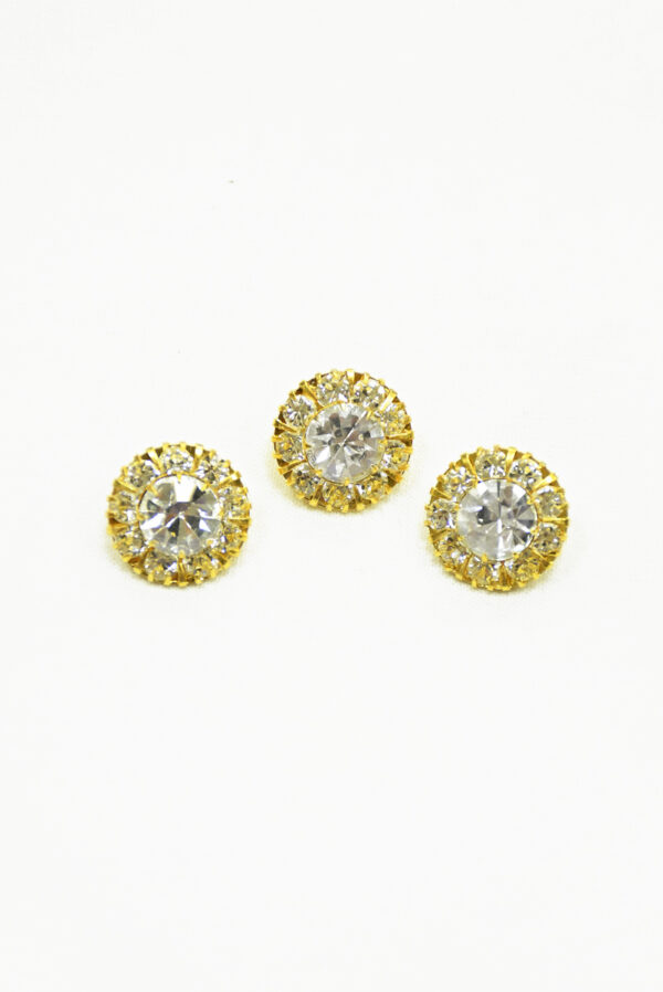 Пуговица металл золото с кристаллами 2