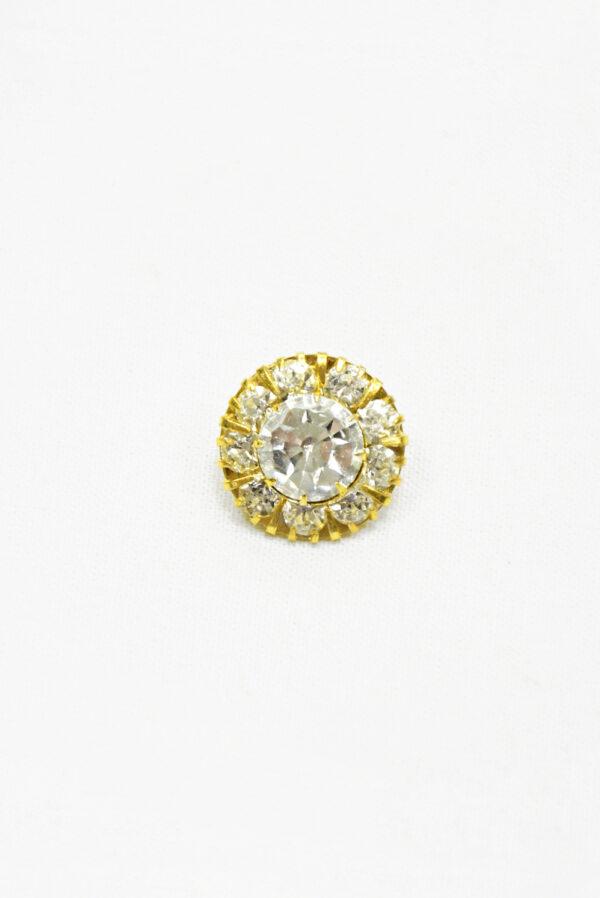 Пуговица металл золото с кристаллами