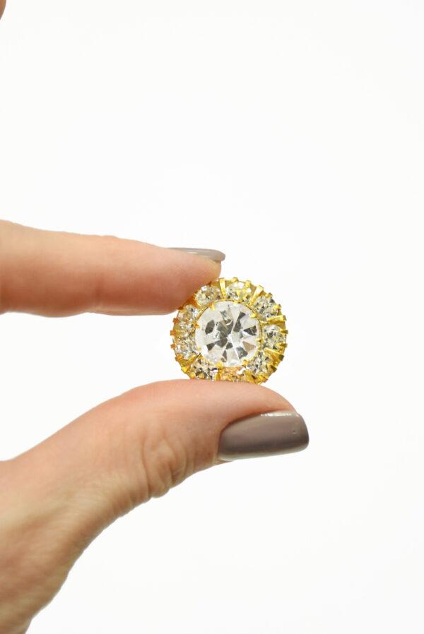 Пуговица металл золото с кристаллами 4