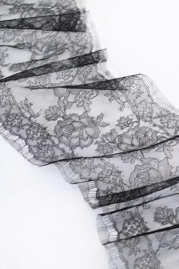 Кружево отделочное французское черное с розами (t0066) т-20 - Фото 6