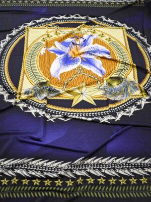 Трикотаж купон синий с лилией в морском стиле (0050) - Фото 15