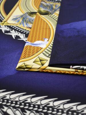 Трикотаж купон синий с лилией в морском стиле (0050) - Фото 16