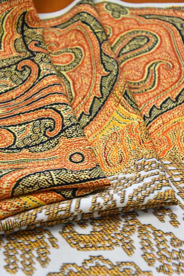 Шерсть купон оранжевый скандинавские мотивы (0662) - Фото 8