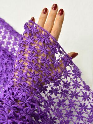 Кружево фиолетовое макраме мелкие звездочки (0841) - Фото 13