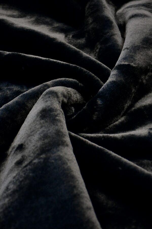 Мех искусственный мутон черный на хлопке (10573) - Фото 7
