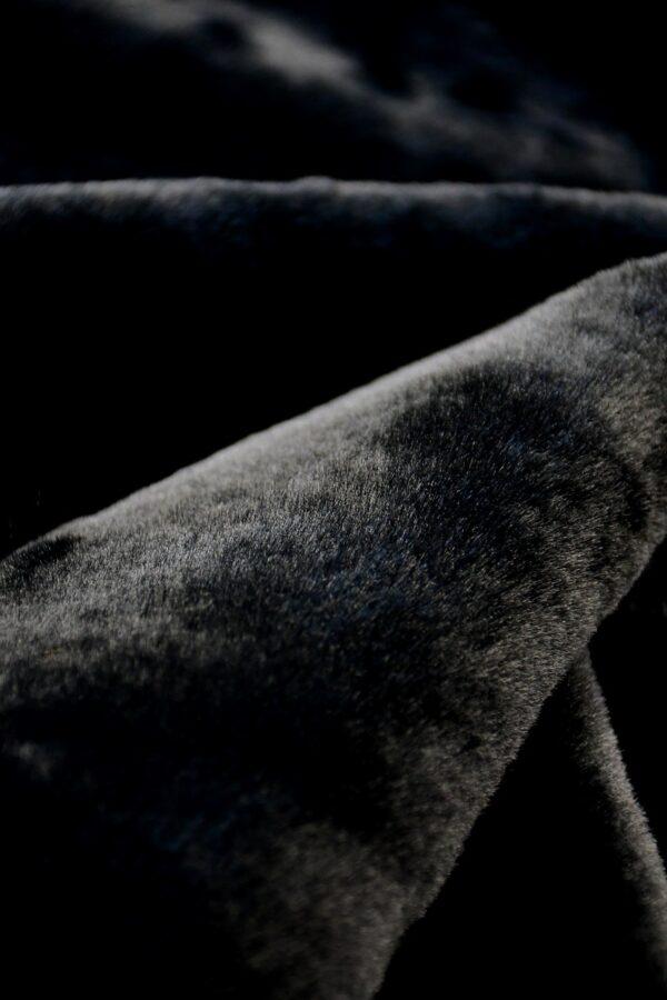 Мех искусственный мутон черный на хлопке (10573) - Фото 8