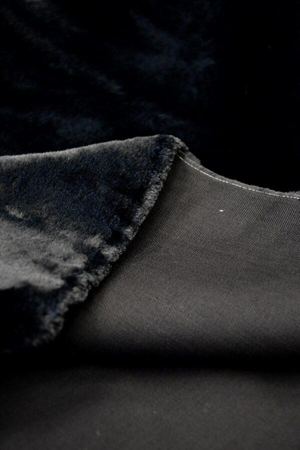Мех искусственный мутон черный на хлопке (10573) - Фото 9