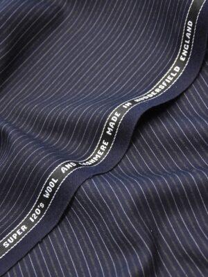 Костюмная шерсть кашемир темно синяя полоска (1111) - Фото 14
