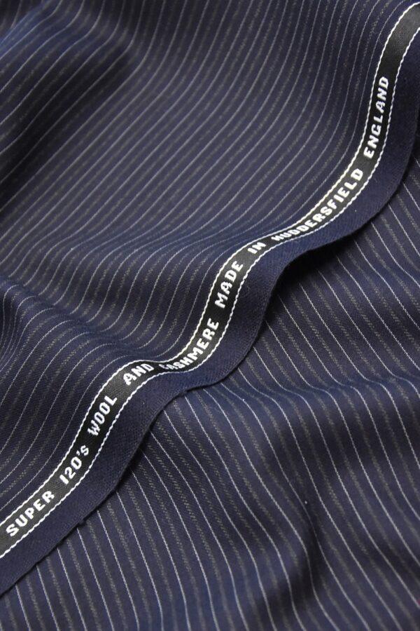 Костюмная шерсть кашемир темно синяя полоска (1111) - Фото 6