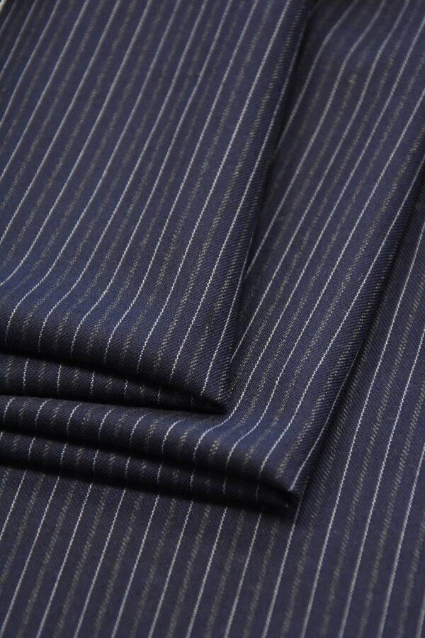 Костюмная шерсть кашемир темно синяя полоска (1111) - Фото 9