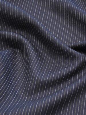Костюмная шерсть кашемир темно синяя полоска (1111) - Фото 15