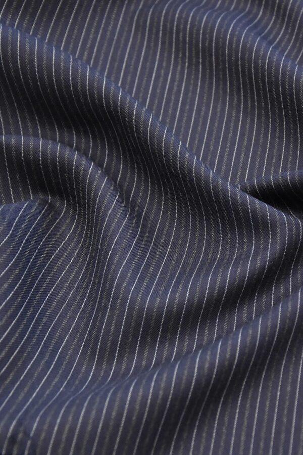 Костюмная шерсть кашемир темно синяя полоска (1111) - Фото 7