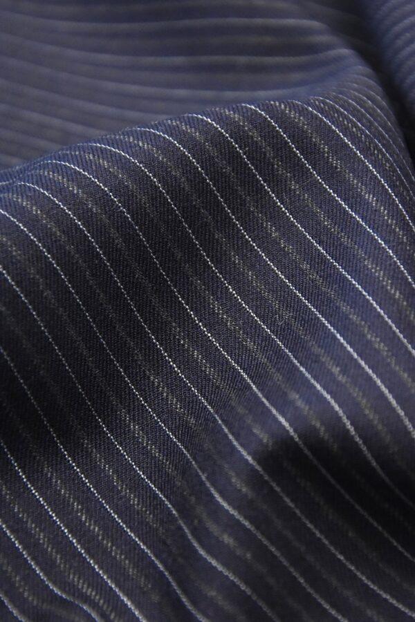 Костюмная шерсть кашемир темно синяя полоска (1111) - Фото 8