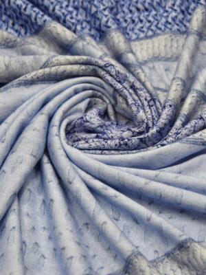 Трикотаж вискоза голубой вязанный принт (1207) - Фото 15