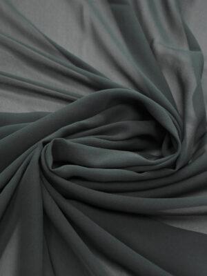 Креп шифон шелковый серый с зеленым оттенком (1220) - Фото 19