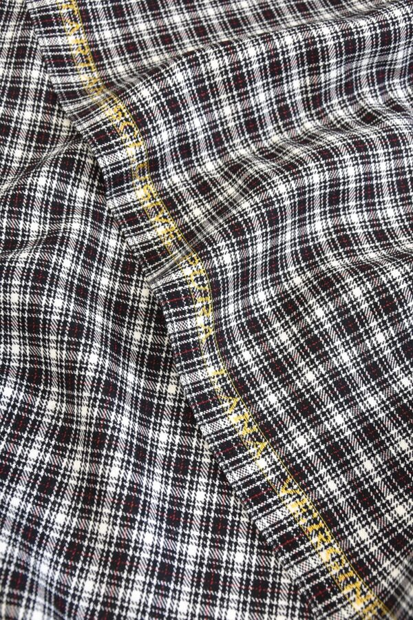 Костюмная шерсть мелкая клетка черныо-белая с красным (1325) - Фото 10