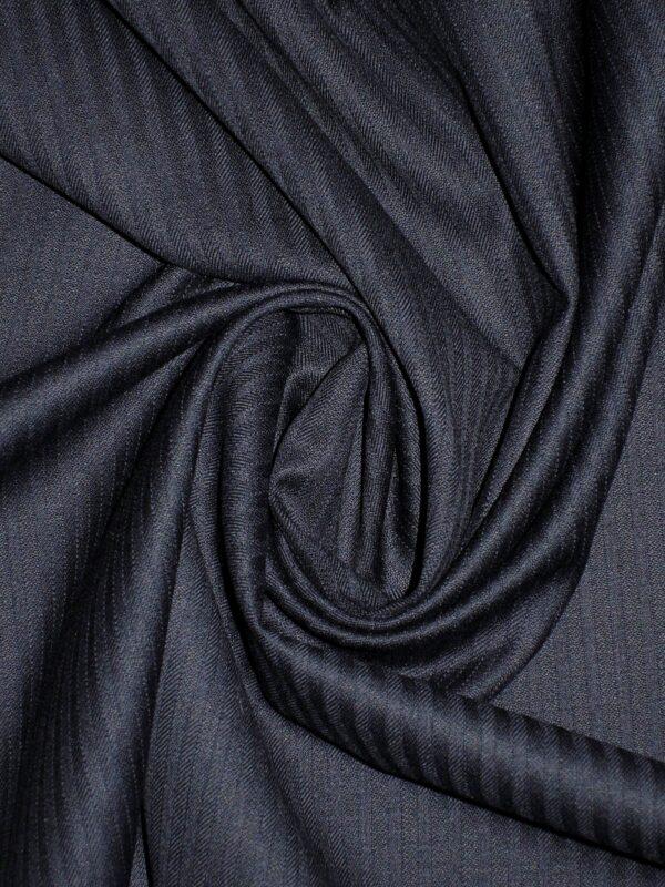 Костюмная шерсть стрейч темно-синяя в полоску (1406) - Фото 8