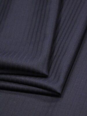 Костюмная шерсть стрейч темно-синяя в полоску (1406) - Фото 15