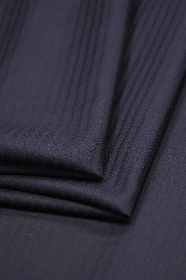 Костюмная шерсть стрейч темно-синяя в полоску (1406) - Фото 7